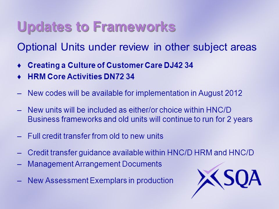 Updates to Frameworks Optional Units under review in other subject areas. Creating a Culture of Customer Care DJ42 34.
