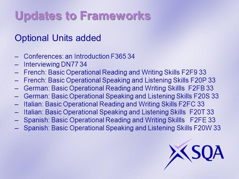 Updates to Frameworks Optional Units added