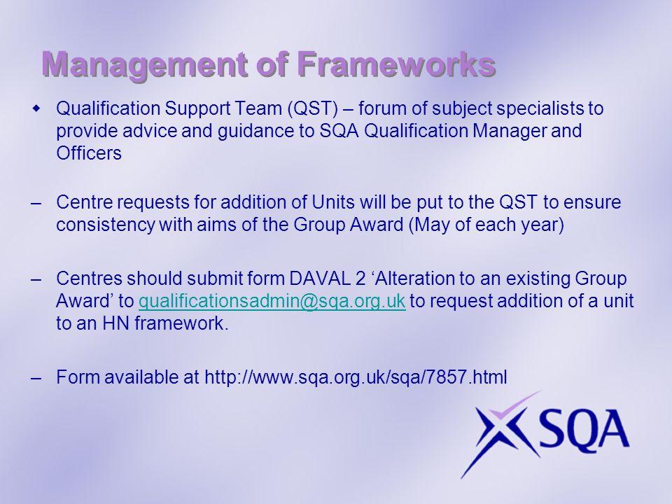Management of Frameworks