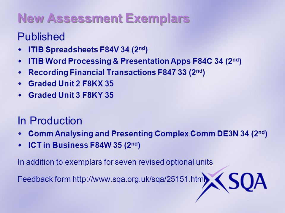 New Assessment Exemplars