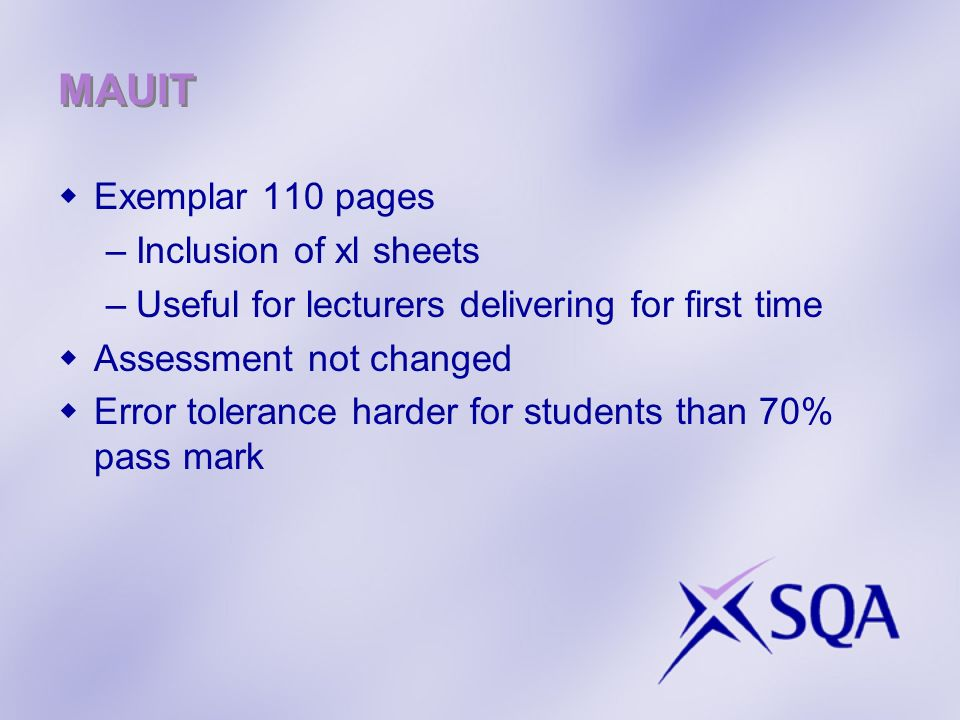 MAUIT Exemplar 110 pages Inclusion of xl sheets