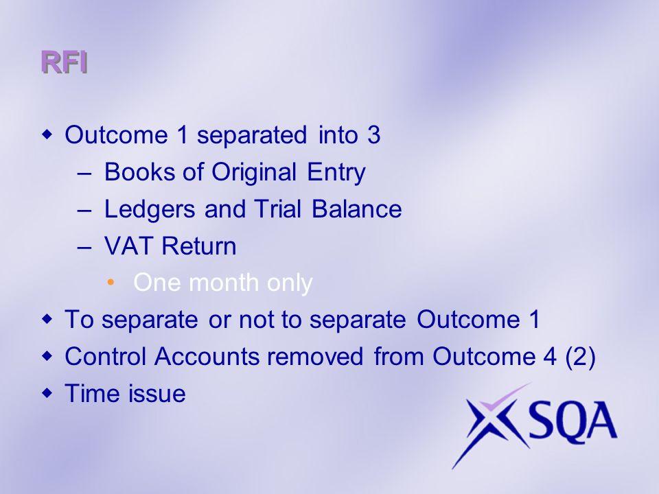 RFI Outcome 1 separated into 3 Books of Original Entry