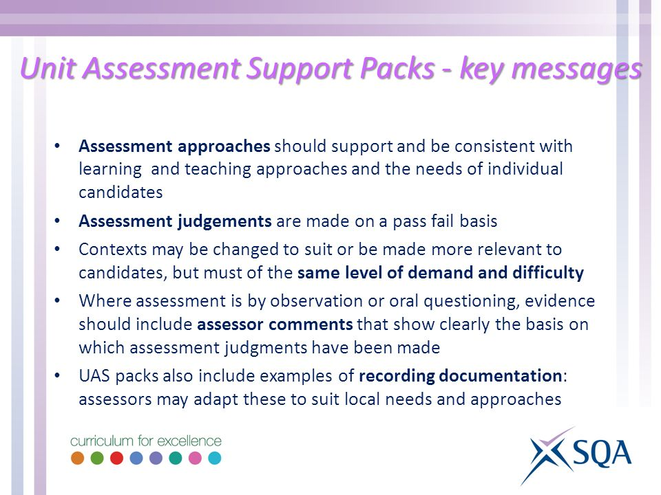 Unit Assessment Support Packs - key messages