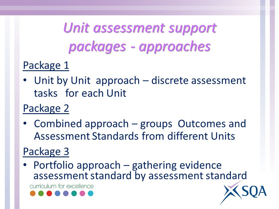 Unit assessment support packages - approaches