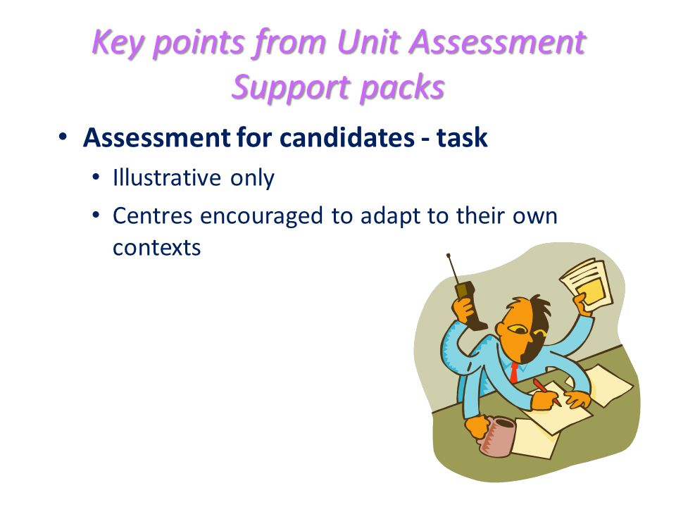 Key points from Unit Assessment Support packs