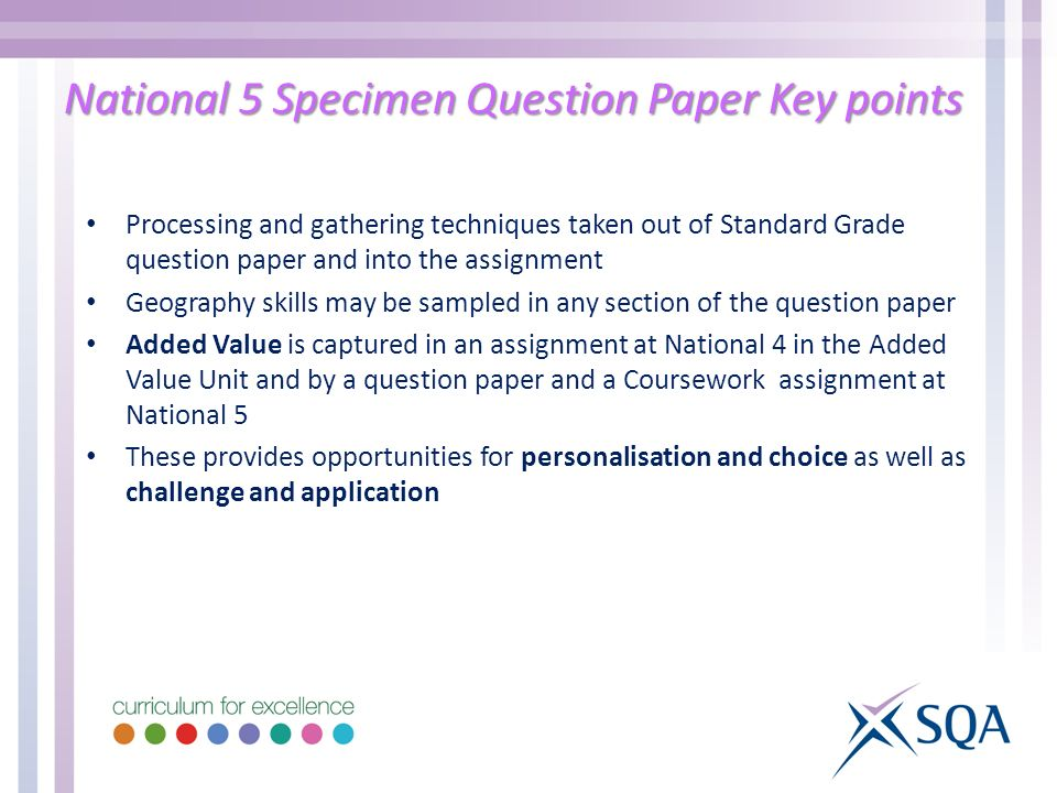 National 5 Specimen Question Paper Key points