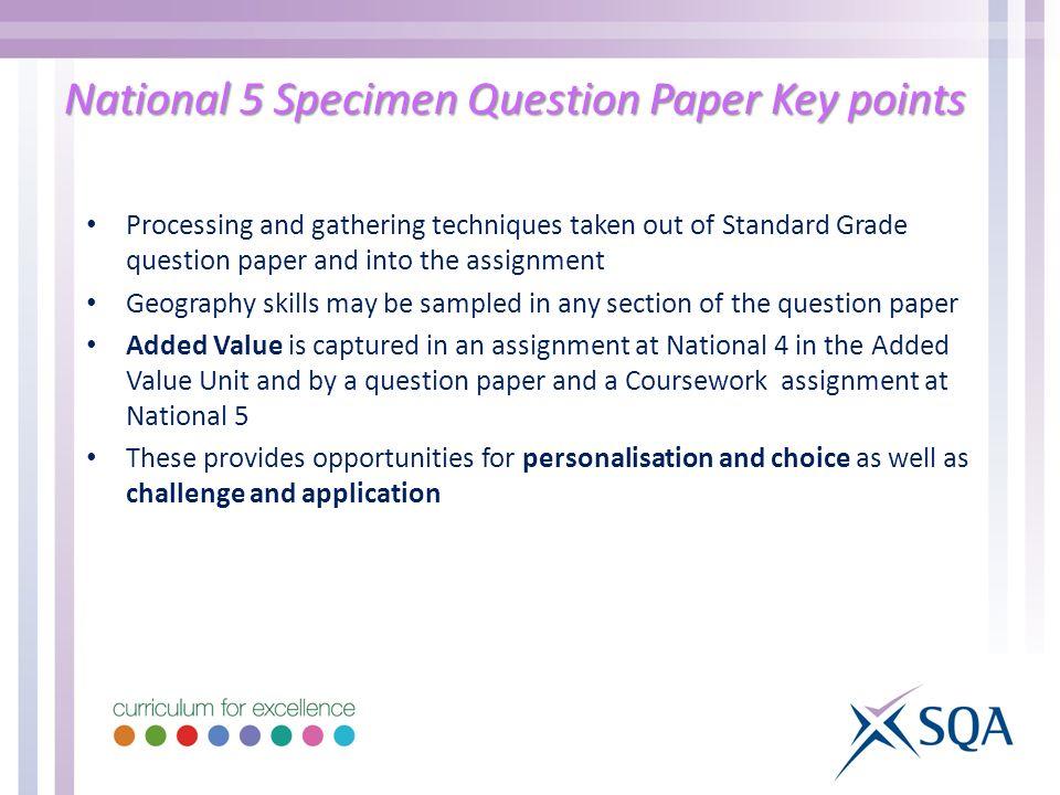 National 5 Specimen Question Paper Key points