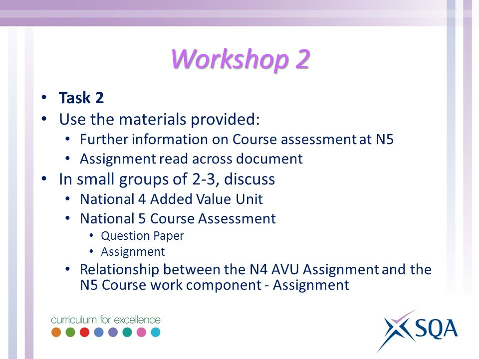 Workshop 2 Task 2 Use the materials provided: