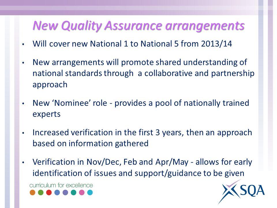 New Quality Assurance arrangements