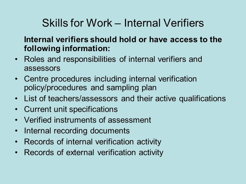 Skills for Work – Internal Verifiers