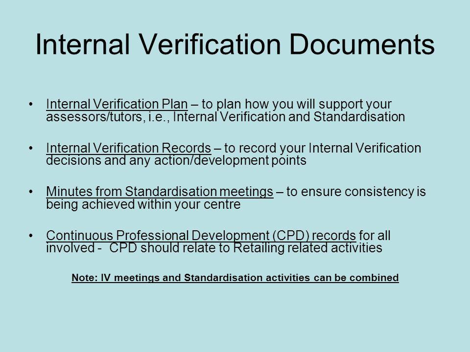 Internal Verification Documents