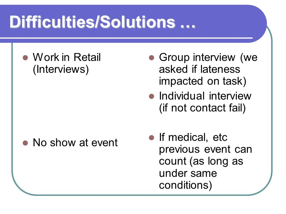 Difficulties/Solutions …