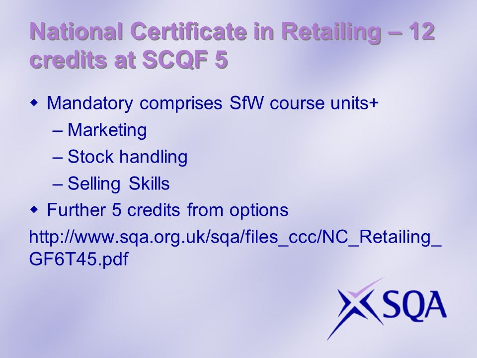 National Certificate in Retailing – 12 credits at SCQF 5