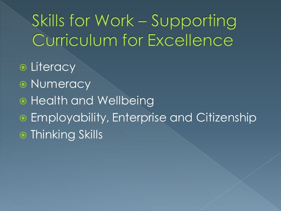 Skills for Work – Supporting Curriculum for Excellence