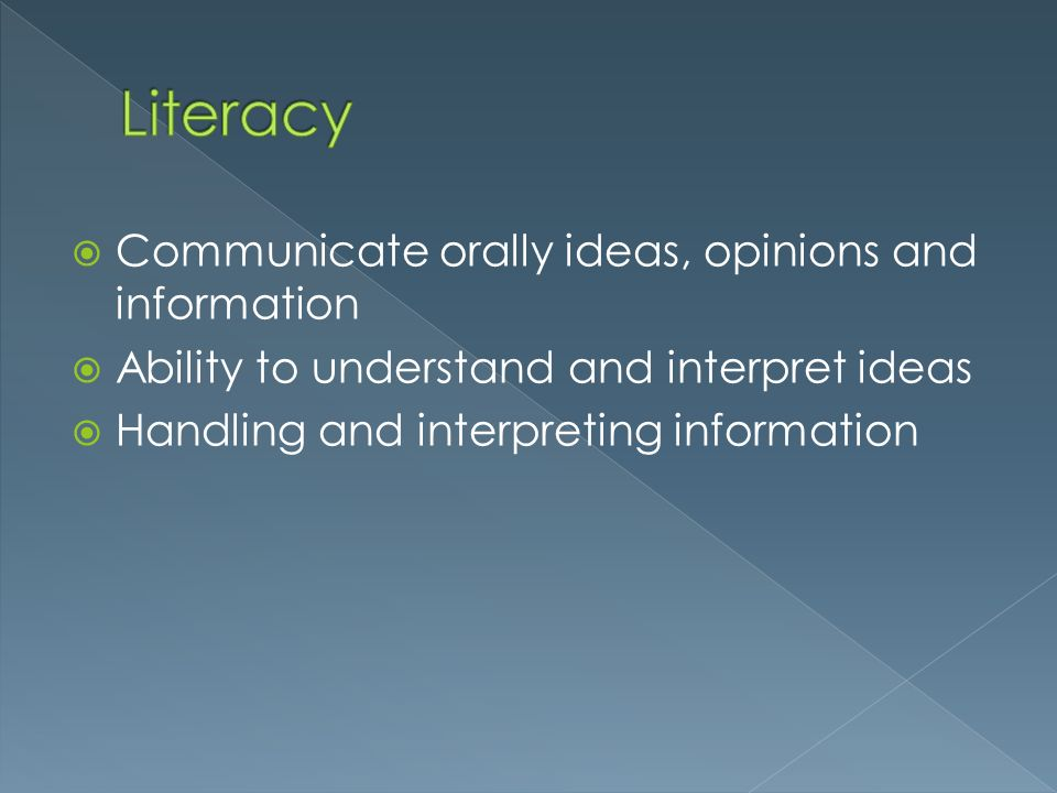 Literacy Communicate orally ideas, opinions and information