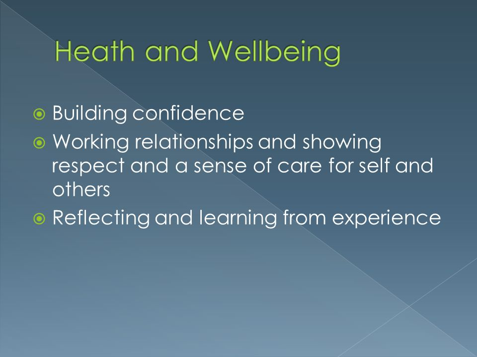 Heath and Wellbeing Building confidence