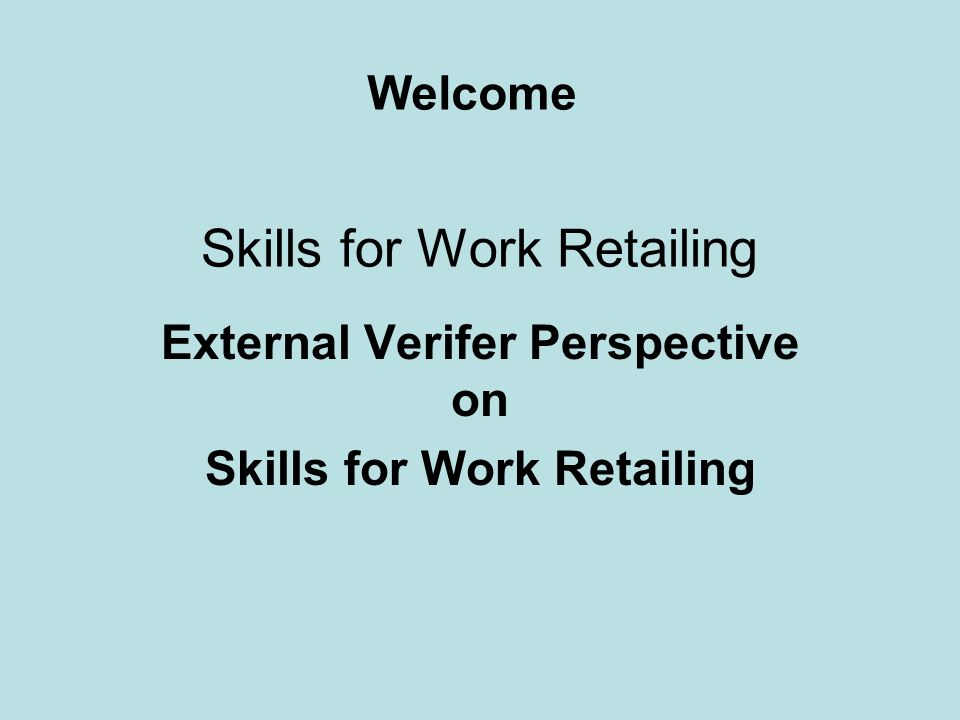 Skills for Work Retailing