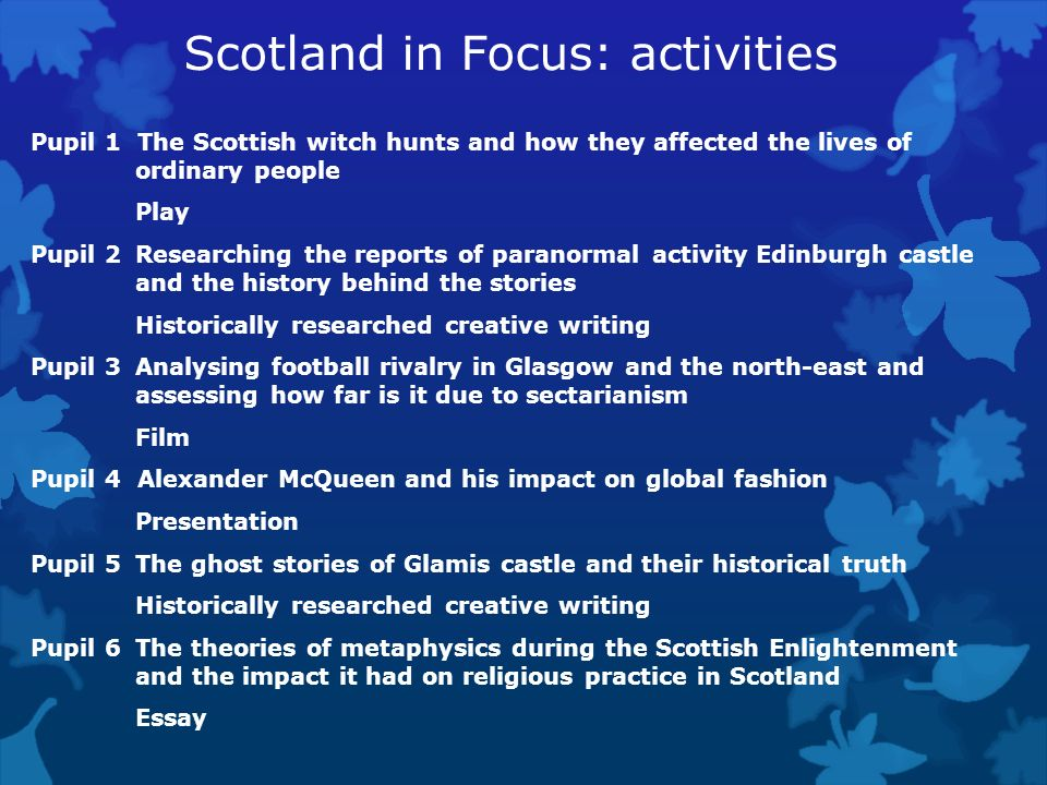 Scotland in Focus: activities