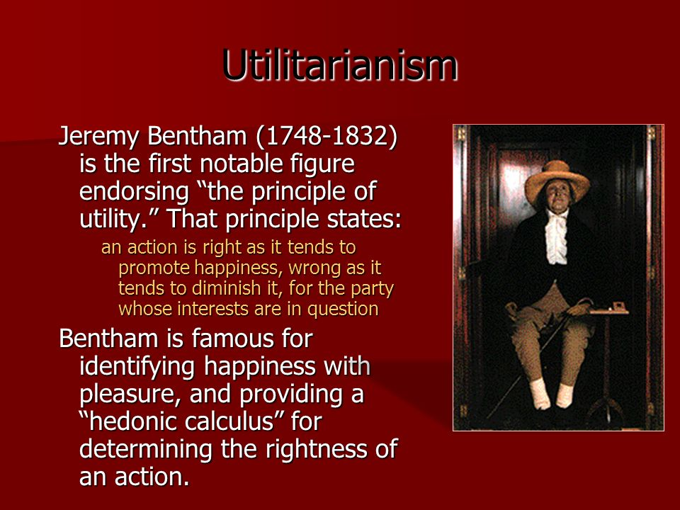 comparing hedonistic and utilitarian products essay Bentham's form of utilitarianism focused on the individual and the pleasure the individual experiences it is usually called hedonistic utilitarianism because of.