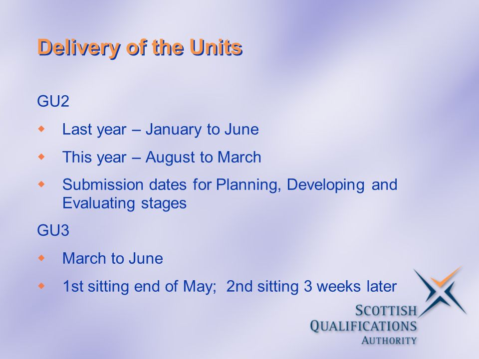 Delivery of the Units GU2 Last year – January to June