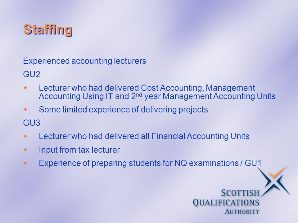 Staffing Experienced accounting lecturers GU2