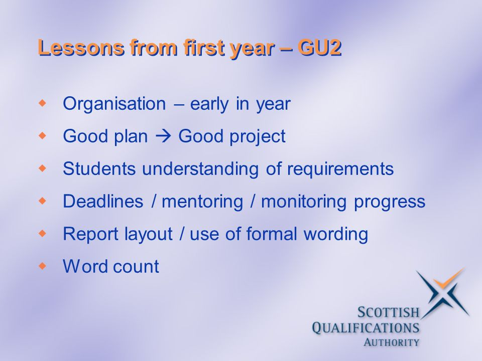 Lessons from first year – GU2