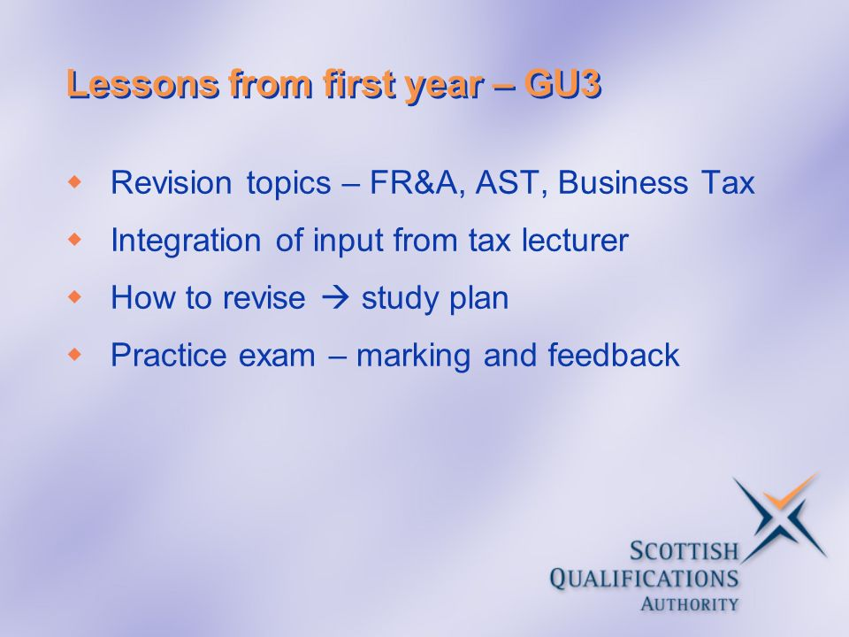 Lessons from first year – GU3