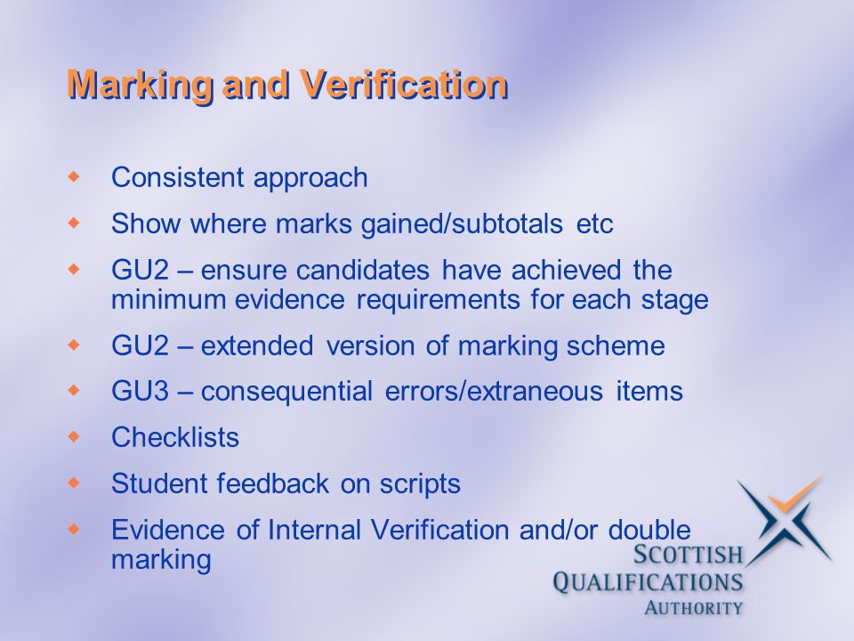 Marking and Verification