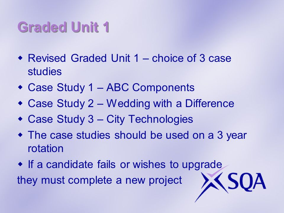 Graded Unit 1 Revised Graded Unit 1 – choice of 3 case studies