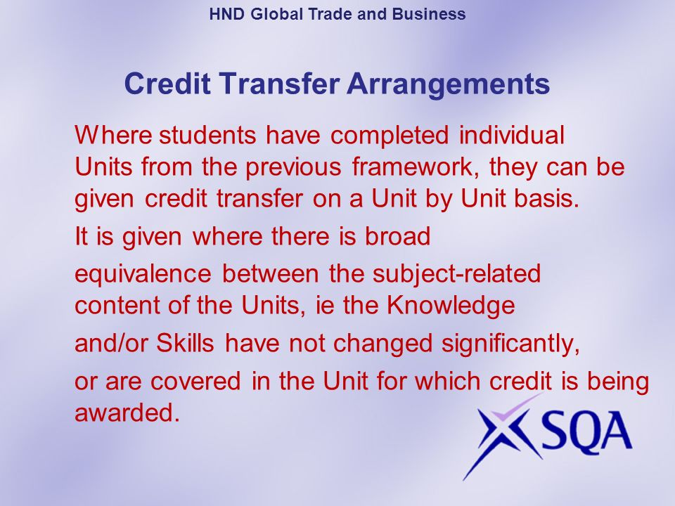Credit Transfer Arrangements