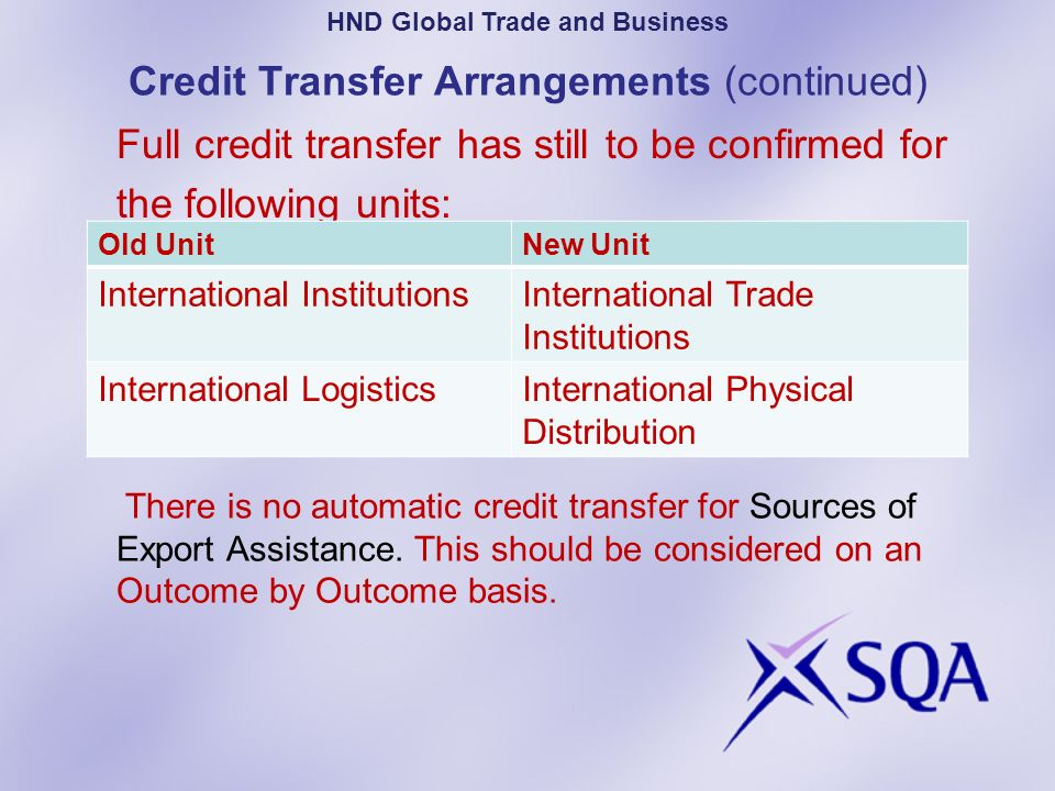 Credit Transfer Arrangements (continued)