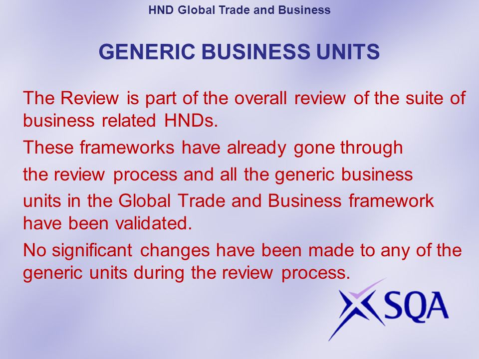 GENERIC BUSINESS UNITS