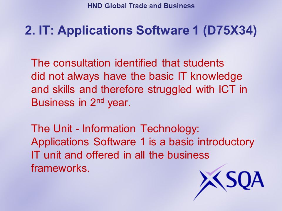 HND Global Trade and Business 2. IT: Applications Software 1 (D75X34)