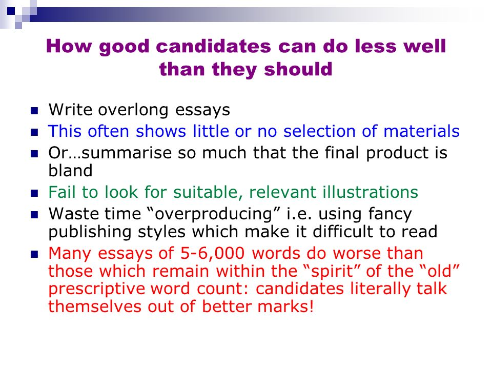 How good candidates can do less well than they should