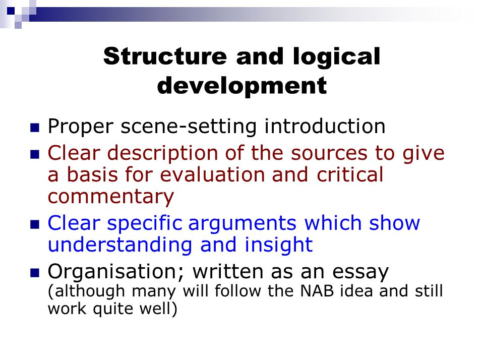 Structure and logical development