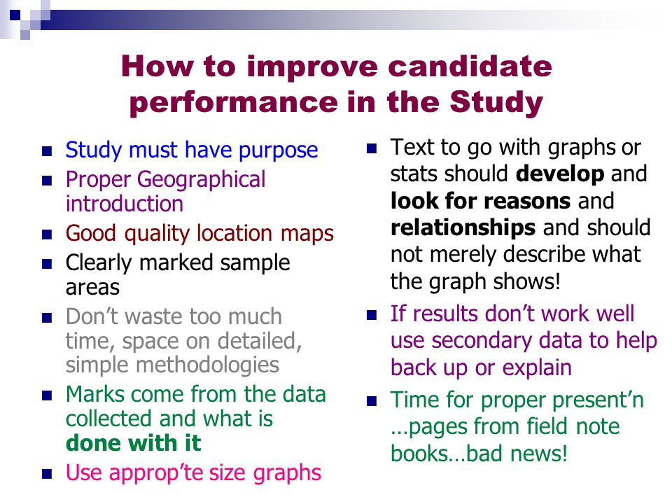 How to improve candidate performance in the Study