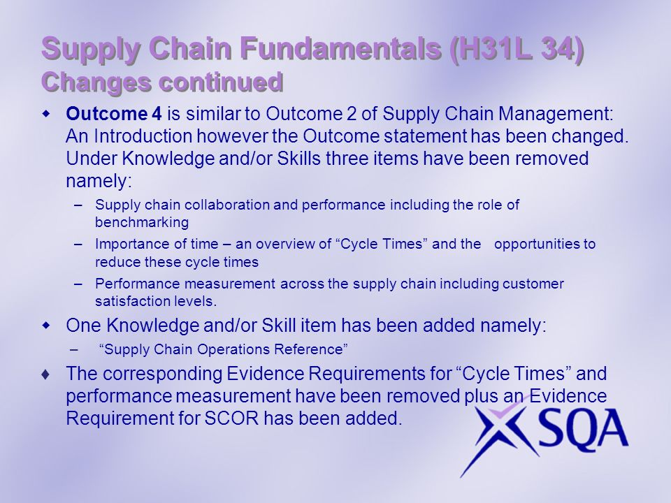 Supply Chain Fundamentals (H31L 34) Changes continued