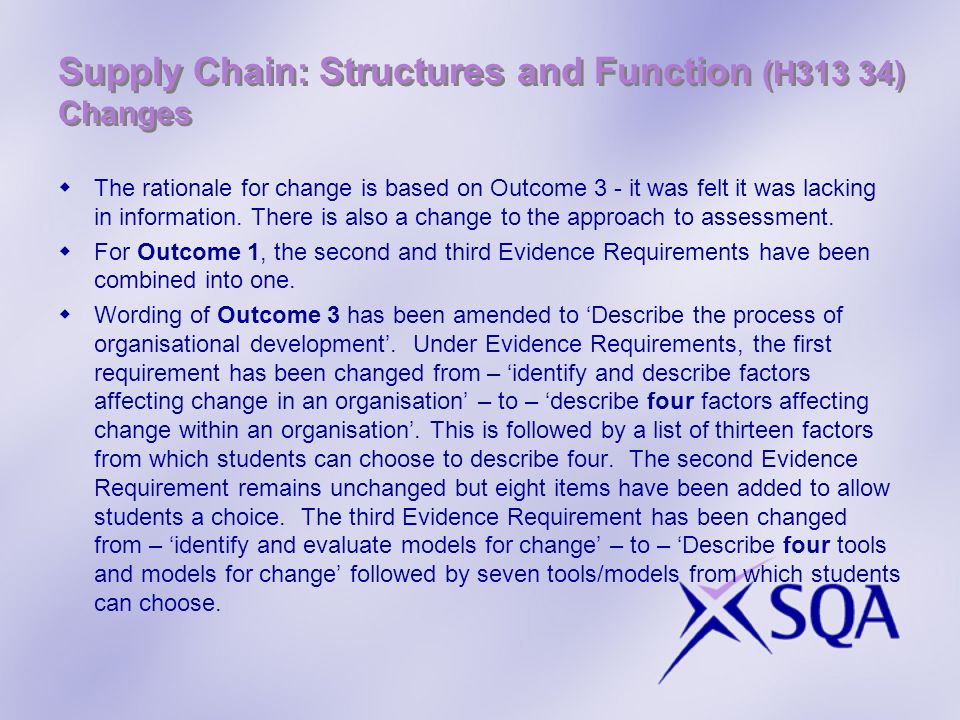 Supply Chain: Structures and Function (H313 34) Changes
