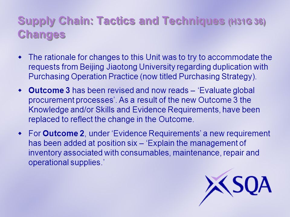 Supply Chain: Tactics and Techniques (H31G 36) Changes