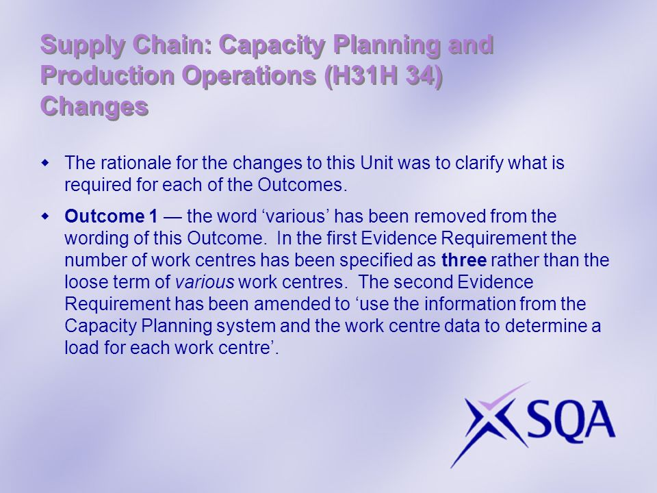 Supply Chain: Capacity Planning and Production Operations (H31H 34) Changes