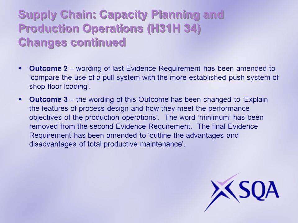 Supply Chain: Capacity Planning and Production Operations (H31H 34) Changes continued