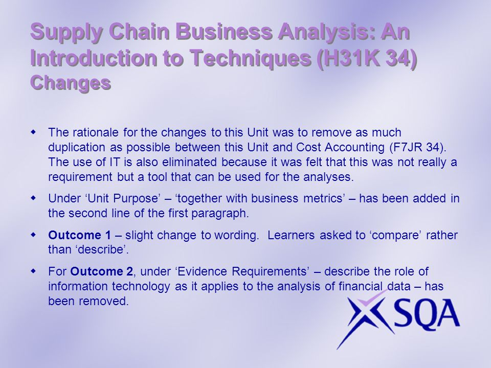 Supply Chain Business Analysis: An Introduction to Techniques (H31K 34) Changes