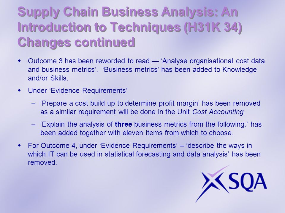 Supply Chain Business Analysis: An Introduction to Techniques (H31K 34) Changes continued