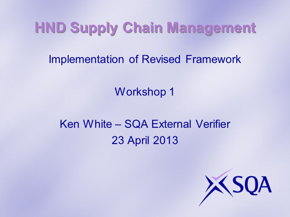 HND Supply Chain Management