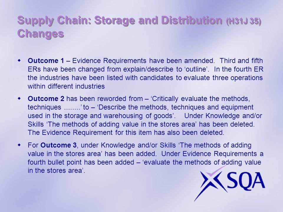 Supply Chain: Storage and Distribution (H31J 35) Changes