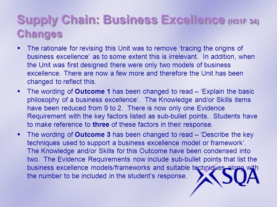 Supply Chain: Business Excellence (H31F 34) Changes