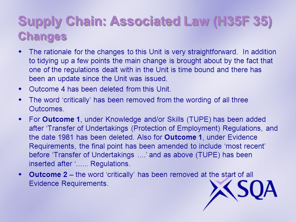 Supply Chain: Associated Law (H35F 35) Changes
