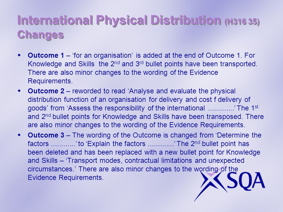 International Physical Distribution (H316 35) Changes