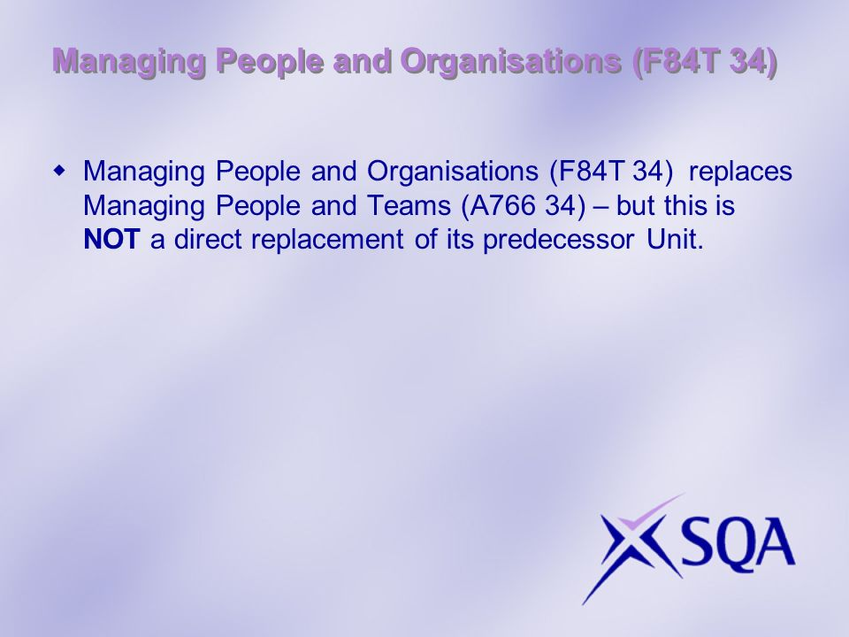 Managing People and Organisations (F84T 34)