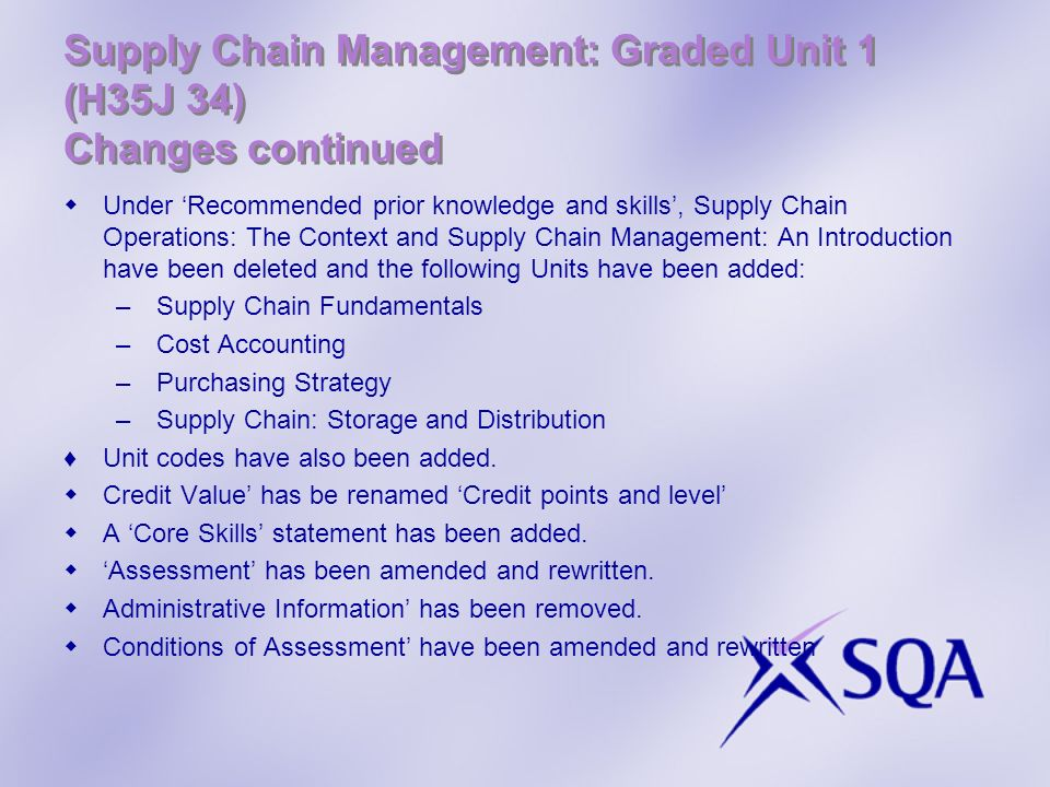 Supply Chain Management: Graded Unit 1 (H35J 34) Changes continued